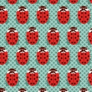 Small Ladybugs in Red and turquoise on polka dots