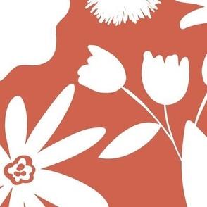 Finley - Boho Girl Floral Silhouette Terra Cotta Red Jumbo Scale