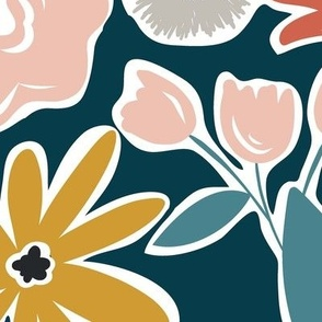 Finley - Boho Girl Floral Dark Teal Jumbo Scale Floral