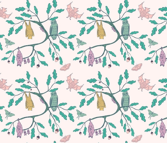 Pastel Mint Coral Lilac Blush Nocturnal Animals Friendly Autumnal Creatures