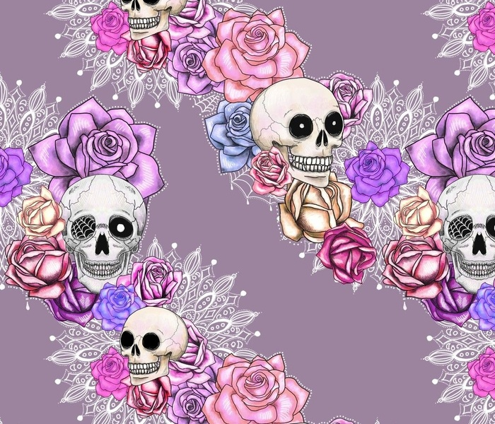 delicate spooky skulls and roses floral