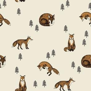 boho fox fabric - autumn woodland fabric - cottagecore fabric cream