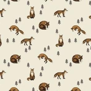 SMALL boho fox fabric - autumn woodland fabric - cottagecore fabric cream