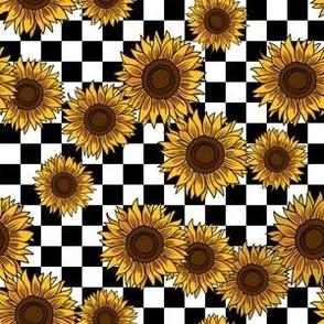 MEDIUM 90s sunflowers fabric - checkerboard fabric, sunflower fabric, 90s fabric - classic