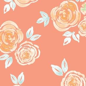 Large // Orange Roses Wallpaper