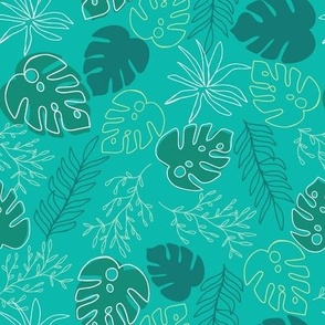 Jungle Leaves In turquoise