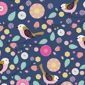 Birdie and florals pastel