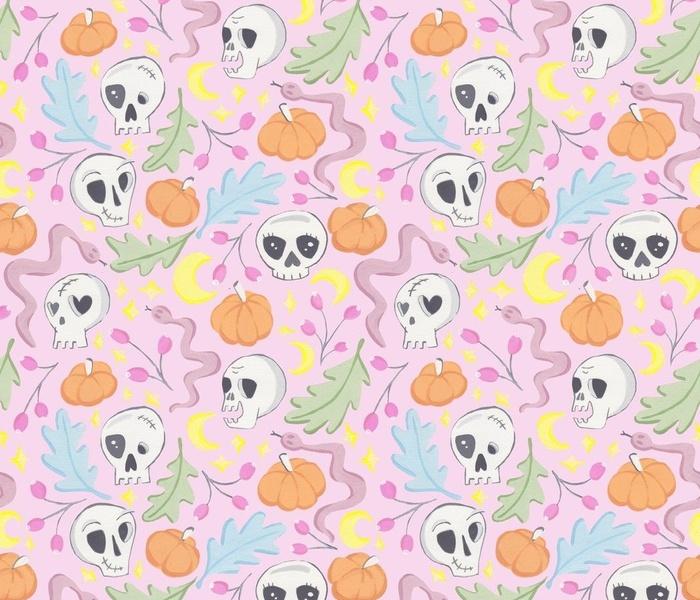 Pastel Halloween Skulls