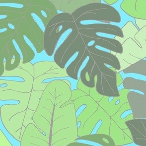 Pastel Jungle - Monstera and Banana Leaves for a Tropical yet Light Mood (large scale)