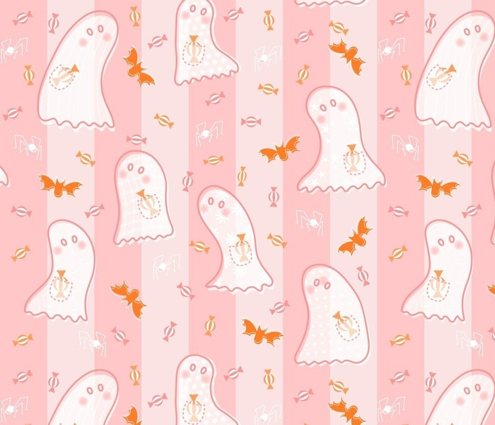Ghosts Stealing Candy - Pink stripe - Grid- M size v03
