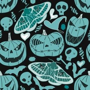 Halloween pastel pumpkins on black