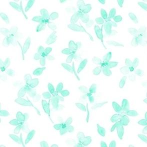 Mint enchanting meadow - watercolor pretty wild flowers a127-15