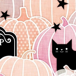 Pastel Halloween Large-Pumpkin Patch with Bats, Skeletons, Black Cats, Ghosts and Stars- Pink, Peach and Black- Soft Colors- Baby Girl- Large Scale- Home Decor- Wallpaper