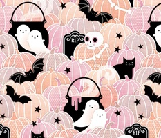 Pastel Halloween Medium-Pumpkin Patch with Bats, Skeletons, Black Cats, Ghosts and Stars- Pink, Peach and Black-Cat- Soft Colors- Baby Girl