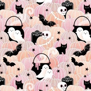 Pastel Halloween Mini- Pumpkin Patch with Bats, Skeletons, Black Cats, Ghosts and Stars- Pink, Peach and Black- Soft Colors- Baby Girl- Small Scale