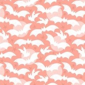 Going Batty Pink Pastel Halloween Bats in Flight