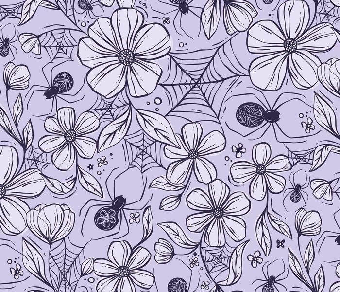 Spider Garden - spider webs among the flowers - purple - medium scale