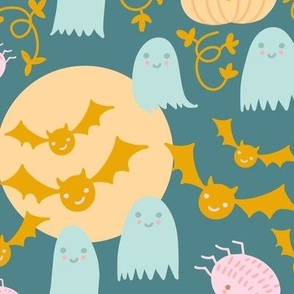 Cute Pastel Halloween Scene in Candy Colors Pumpkin Ghost Spider Web Bat in Pink Mint Gold