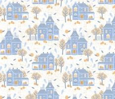 Halloween Haunted Houses - white pastel blue - medium scale