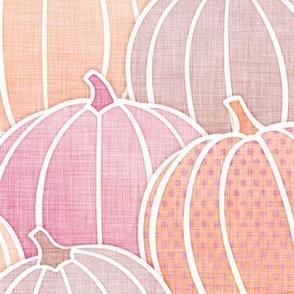 Pastel Pumpkin Patch Large- Pastel Halloween- Fall- Autumn Pumpkins- Orange- Pink- Coral- Baby- Kids- Large Scale- Home Decor