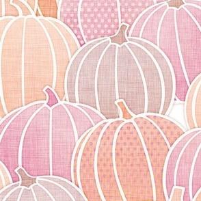 Pastel Pumpkin Patch Medium- Pastel Halloween- Fall- Autumn Pumpkins- Orange- Pink- Coral- Baby- Kids