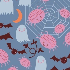 Cute Halloween in Blue and Orange with Spiders,Pumpkins,Bats,Moon