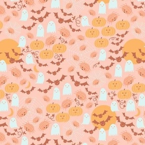Small Boho Halloween in Peach Yellow with Pumpkins, Spiders, Bats and moon