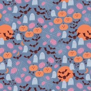 Small Cute Halloween in Blue and Orange with Spiders,Pumpkins,Bats,Moon
