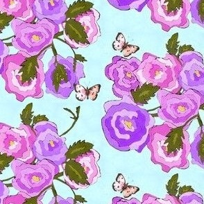 Carnations and Butterflies Pattern