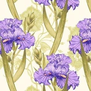 Vintage Irises Purple