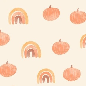 Boho Watercolor Pumpkins and Rainbows Orange Beige Fall Autumn Kid Nursery