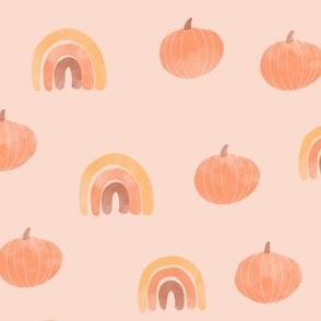 Boho Watercolor Pumpkins and Rainbows Orange Fall Autumn Kid Nursery