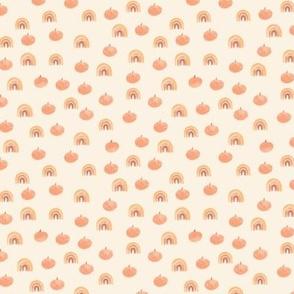 Small Boho Watercolor Pumpkins and Rainbows Orange Beige Fall Autumn Kid Nursery