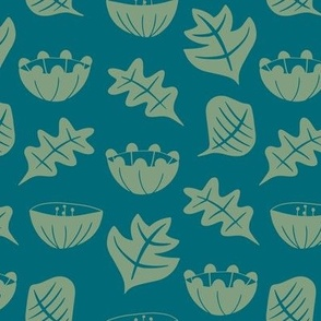 Flowers and Leaves - Small - Teal
