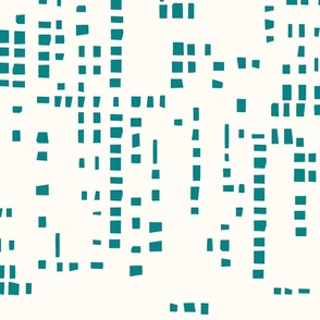 Square  Pixel Teal on Eggshell