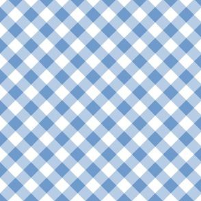 Diagonal  Gingham Blue White