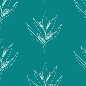 Large // Heliconia Psittacorum Flower Outline - Teal