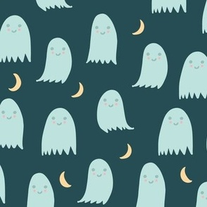 Cute Halloween Ghosts in Teal Blue Green with Yellow Moon Crescents