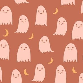 Boho Ghosts in Peach Orange Terracotta Earth Tones Halloween