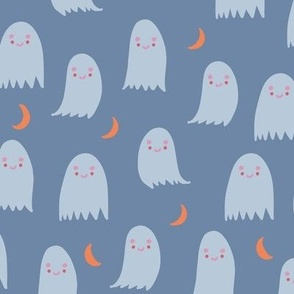 Cute Ghosts in Blue and Orange with Moon Crescents Halloween