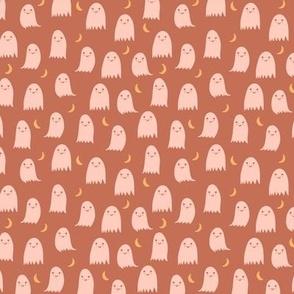 Small Boho Ghosts in Peach Orange Terracotta Earth Tones Halloween