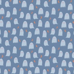 Small Cute Ghosts in Blue and Orange with Moon Crescents Halloween