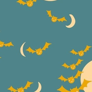 Halloween Night Bats and Moon in teal blue green and yellow