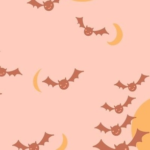 Boho Halloween Night Bats and Moon in peach and yellow