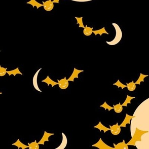 Halloween Night Bats and Moon in yellow gold and black