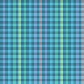 rainbow stripe gingham on kingfisher blue