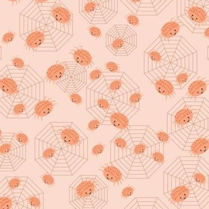 Cute boho Spiders in Orange and Peach Small Halloween Spider webs