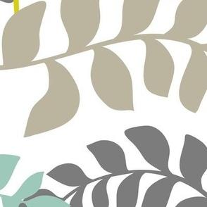 Undertow - Colorful Swirling Seaweed - White Multi Jumbo Scale
