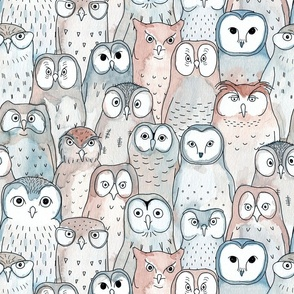owls (water color)