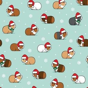 Christmas Guinea pigs - polka dots on mint- LAD21